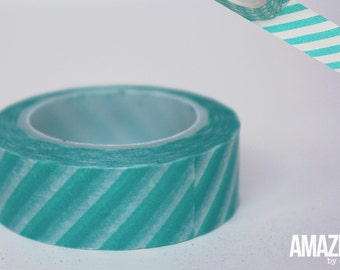 teal & white airmail striped washi tape - Paper Masking Tape