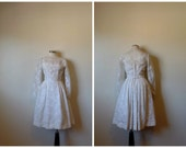 60s dress //  1960s Lorrie Deb Ivory Lace wedding formal dress xs small