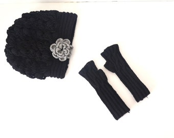 Winter White Wool Lace Slouch Hat and Fingerless Gloves Winter Accessories Winter Fashion