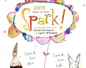 2015: year of the SPARK!! online workshop! Art classes and inspiration for a full year! Mixed media, collage, drawing and more