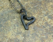 "Forged iron ""pipe dream"" heart pendant -- i11528"