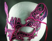 The Pink Panther - Lace Cat Mask Kitty Mask Masquerade Mask Lace Mask Embroidery Mask Pink Cat Mask Lacy Mask Burlesque Mask