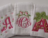 Girl Personalized  Burp Cloths Set of 3  Hot Pink and Green