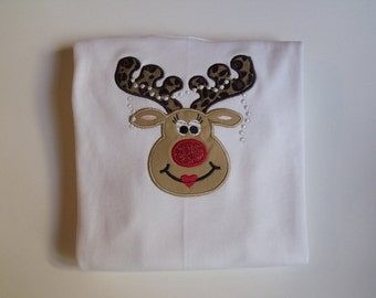 Girl Reindeer Applique Christmas Shirt With Her Pearls