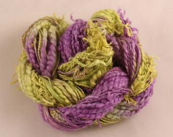 Purple Lime green variegated hand dyed Thread weaving thread sewing quilting cotton ribbon Embroidery thread embellishment Waldorf doll hair