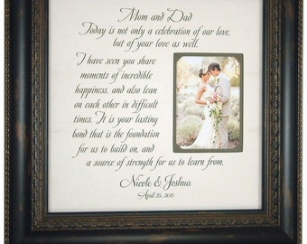Custom Wedding Frame, Mr Mrs Sign, MOM & DAD, Wedding Gifts For Parents, Father of The Bride, Mother of The Bride, 16 X 16