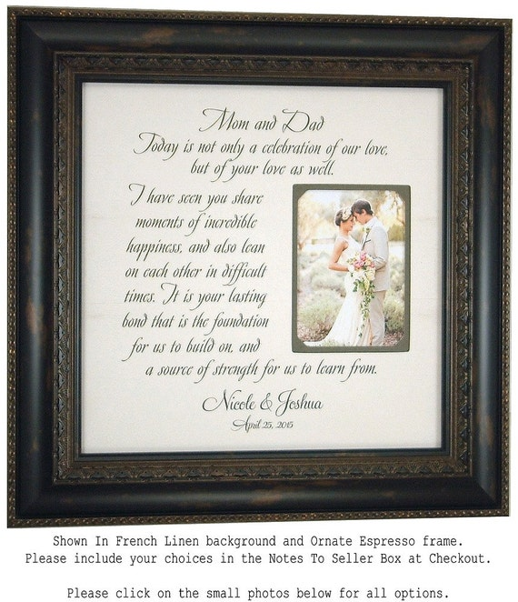 Parents of the Bride Parents of the Groom Wedding Gift Personalized Wedding Frame, CELEBRATION OF LOVE 16x16