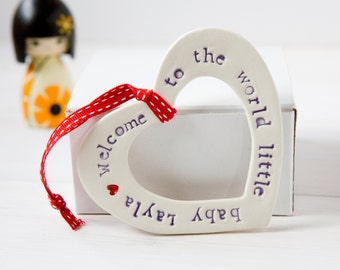 Personalised New Baby Gift Hanging Heart unique ceramic Christening baby shower