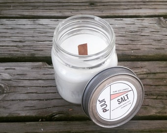 Salt Pure Soy Mason Jar Candle Wood Wick Candle Container Candle Fresh Scent Sea Salt Timber Wick Hand Poured Home Fragrance