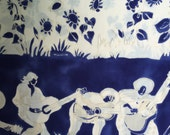 Rayon Fabric - Guitar Players- Blue