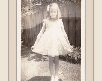 Daytime Apparition- 1930s Vintage Photograph- Ghostly Little Girl in White Dress-  Snapshot- Old Photo- Halloween Decor- Paper Ephemera