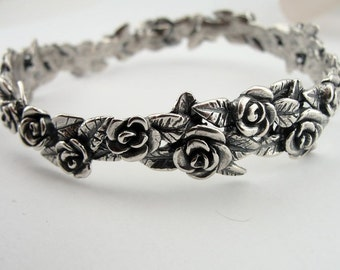 New Handmade organic design,  Massivr 925 Sterling Silver flower Bracelet (Bs6118)