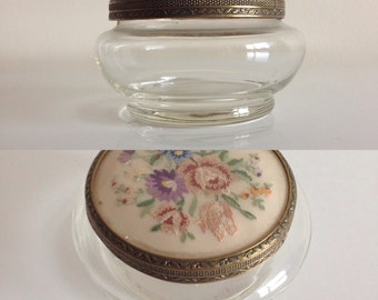 vintage 1960s glass jar with tapestry lid.