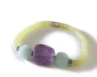 CROWN CHAKRA - Amethyst, Opal, Yellow Jade Stretch Bracelet (Seventh Chakra - Migraines, depression, lung p