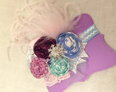 FROZEN Inspired Couture style hand rolled rosette headband/ hairclip with curly ostrich feathers