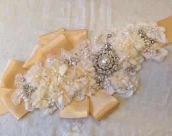 One of a Kind Bridal Gold & Ivory Floral Rosette Sash