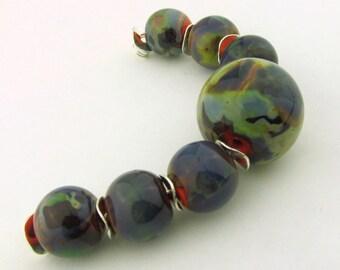 Handmade 7 piece set of Coral Based beads with Raku (Iris Orange ) Shards -All Fired Up Studio-leteam