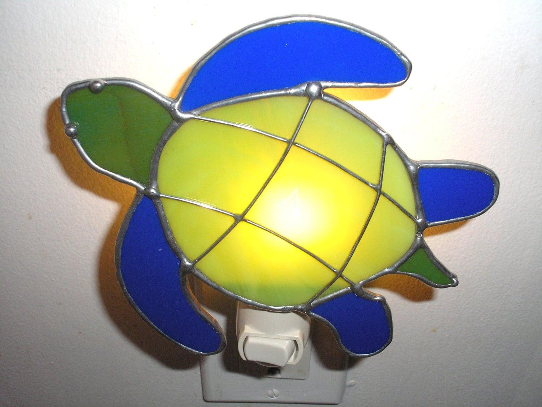 Lt stained glass turtle night light lamp land or sea turtle - Turtle nite light ...