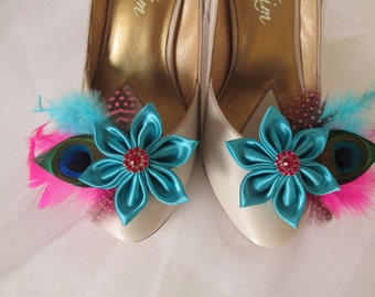 Wedding Shoe Clips Turquoise Teal Blue, Peacock Shoe Clips for Bride, Pink Feather Bridal Shoe Accessories, Kanzashi Flower Shoe Clips
