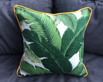 Banana leaf Outdoor Cushion or Pillow Cover with yellow piping 43cm x 43cm