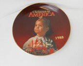 Vintage Christmas in America collector plate 1988 limted addition Christmas plate Numbered collector plate new old stock original packaging