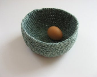 crocheted wool nesting bowl