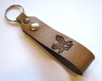 Key Fob Eagle Tan Leather Snap Loop for Belt or Pack Keychain Wristlet