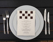 Chess Themed Wedding Menu Card, Alice in Wonderland Style Party, Chessboard Game, Cutout, Scrapbook, Papercut by Naboko