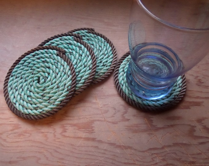 Set of 4 Rope Coasters Nautical Decor Natural with Green Beach Ocean Sailor Marine Navy Stocking Stuffers