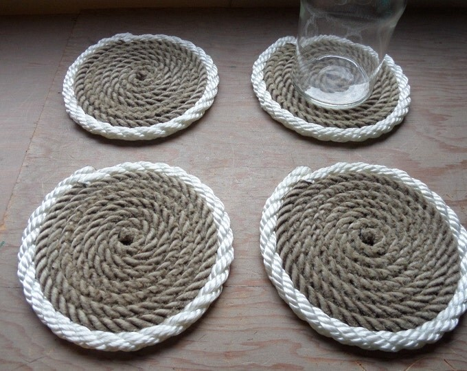 Set of 4 Rope Coasters Nautical Beach Coastal Marine Navy Natural with White Accent