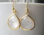 White Topaz Drop Earrings / Gold / Bridesmaids / Glass Dangle Teardrop Earrings / Bridal / Teardrop Earrings / 14K Gold Filled Wire / Gift