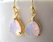 Lavender Opal Teardrop Earrings / Mystic Lavender / Glass Dangle / Teardrop / Bridesmaids / Wedding / 14K Gold Filled Wire / Gold / October