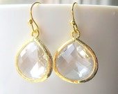 Clear Glass Drop Earrings / Gold / Bridesmaids / Dangle Teardrop Earrings / Bridal / Teardrop Earrings / 14K Gold Filled Wire / White Topaz