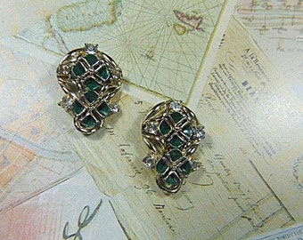 Vintage Silver and Rhinestone Screwback Earrings - V-EAR-611 - Silver Earrings - Rhinestone Earrings - Green Earrings