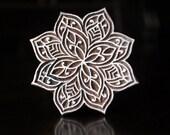 Hand Carved Indian Wood Stamp, Textile Stamp, Blockprint Stamp, Pottery Stamp - Floral Motif (Reduced)