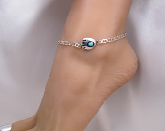 Turquoise Bear Paw Claw Shadowbox Sterling Silver Anklet Ankle Bracelet Adjustable from 9 to 10 1/2 inches