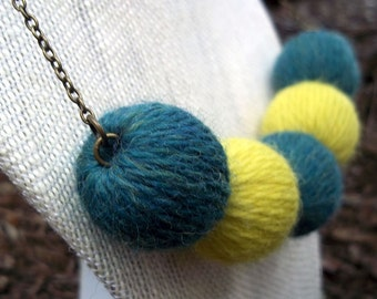 Statement Necklace - Teal Green and Lemongrass // Blue Green and Neon Yellow // Heathered