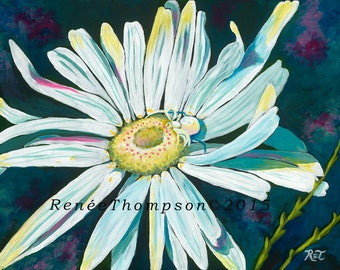 Friendship, GREETING CARD - garden art, insect art, white and black, white flower painting, spider art, daisy painting