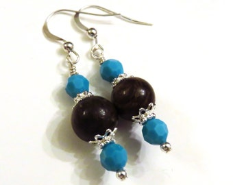 Turquoise Swarovski Crystal & Bronzite Earrings, Turquoise Earrings, Crystal Earrings, Blue Earrings, Brown Earrings