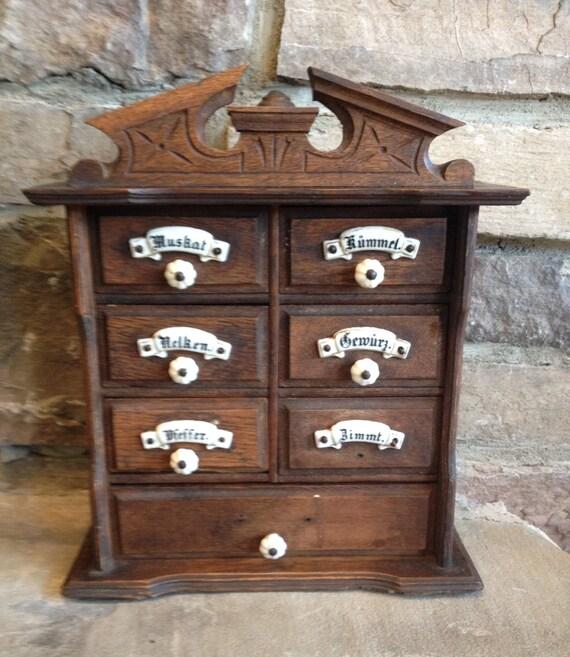 antique german spice cabinet 1