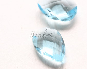 2 Pieces / Hand Cutted Teardrop / No Hole / Crystal Glass / Blue 14.15x10.10mm (3005C-S-180)