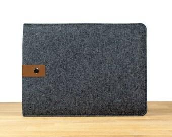 "11"" MacBook Air Sleeve Case - Black Wool Felt with Brown Leather Strap"