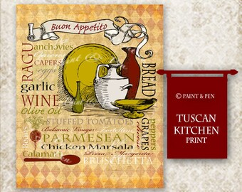 Tuscan Kitchen Decor- Tuscan Wall Art- Italian Kitchen Sign- Kitchen Subway Art-  Vintage Style- Buon Appetito Print- Wine Bread Cheese