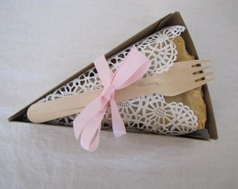 PIE SLICE BOX- For Weddings, Picnics, Parties, Holidays- Pie Box, Liner, and Wooden Fork