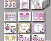 Night Owl Birthday Party Printables - (19) PDF Printable Files - Instant Digital Download