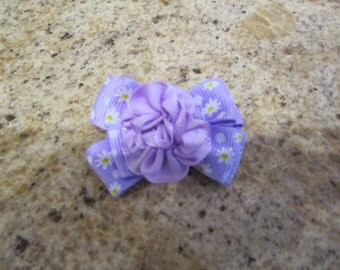 "7/8   Dog Bow   Purple  with Daisis     By "" Nina's Couture Closet """
