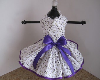 Dog Dress XS White with Purple and Lavender Small  Flowers By Nina's Couture Closet