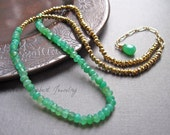 Chrysoprase Gemstone Necklace, Chrysoprase and Pyrite Beaded Necklace, Green Gemstone Jewelry, Gold Necklace