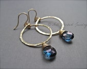 Blue Quartz Gold Hoop Earrings, Hammered Hoop Dangle Earrings in 14K Gold Fill, Navy Blue Quartz Gemstone Earrings