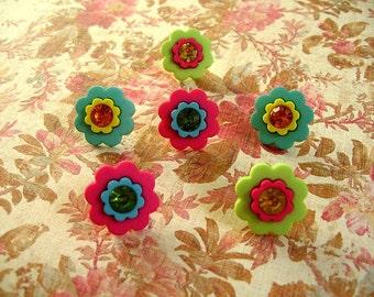 6 Pcs Flower Thumbtacks, Flower Push Pin, Flower Notice Board Pins, Flower Gift